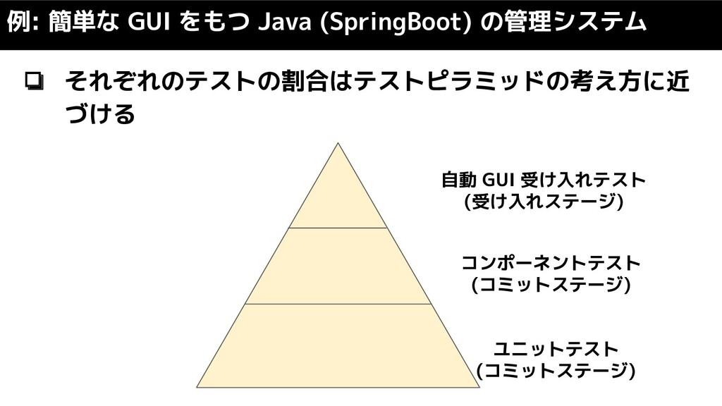 ❏ それぞれのテストの割合はテストピラミッドの考え方に近 づける 例: 簡単な GUI をもつ...