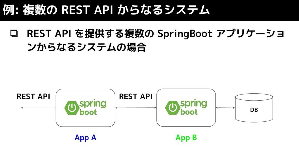 ❏ REST API を提供する複数の SpringBoot アプリケーショ ンからなるシステ...