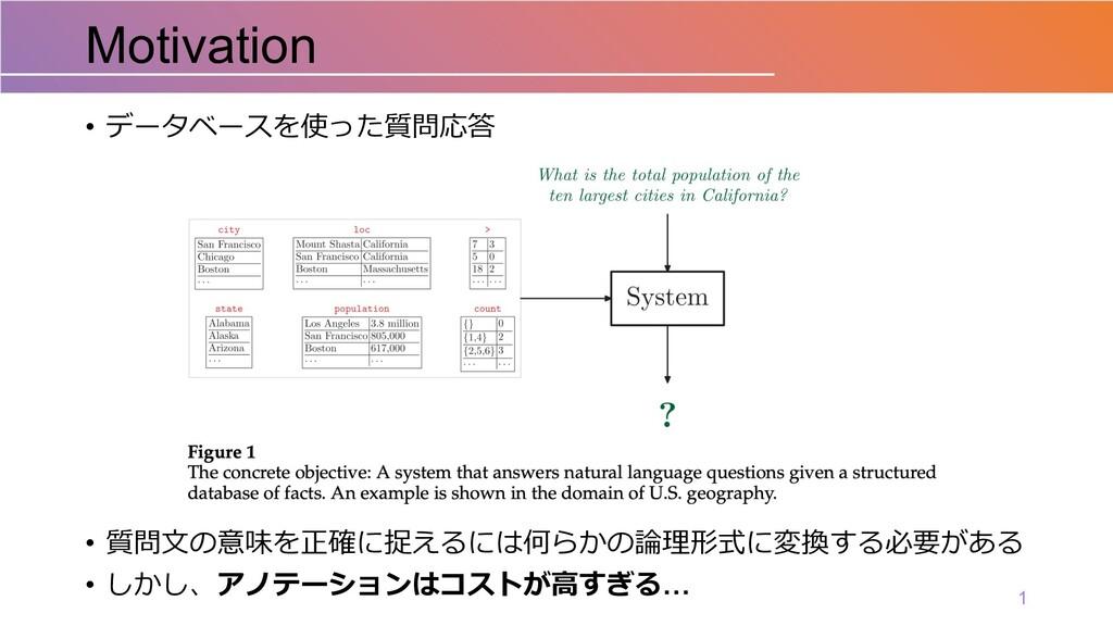 • データベースを使った質問応答 • 質問⽂の意味を正確に捉えるには何らかの論理形式に変換する...