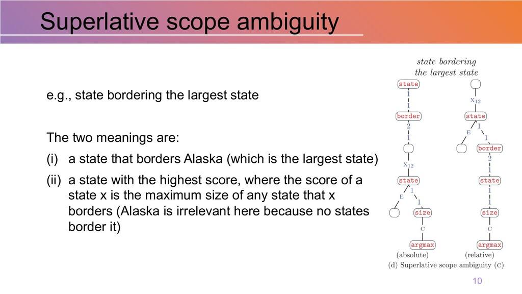 Superlative scope ambiguity 10 e.g., state bord...