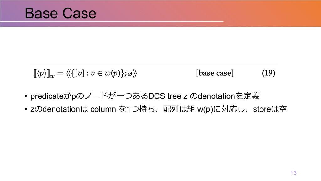 • predicateがpのノードが⼀つあるDCS tree z のdenotationを定義...