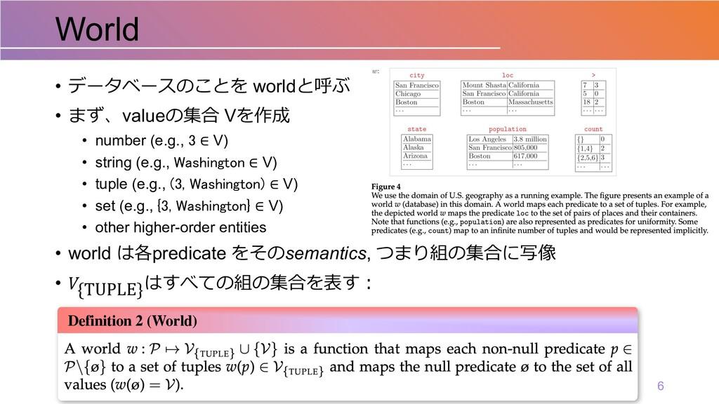 • データベースのことを worldと呼ぶ • まず、valueの集合 Vを作成 • numb...