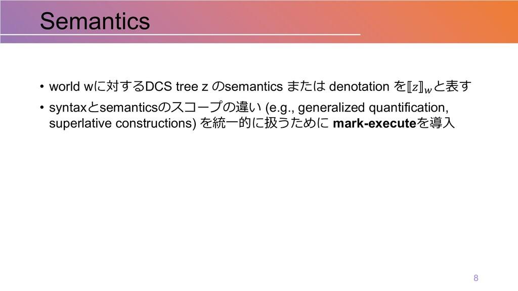 • world wに対するDCS tree z のsemantics または denotati...