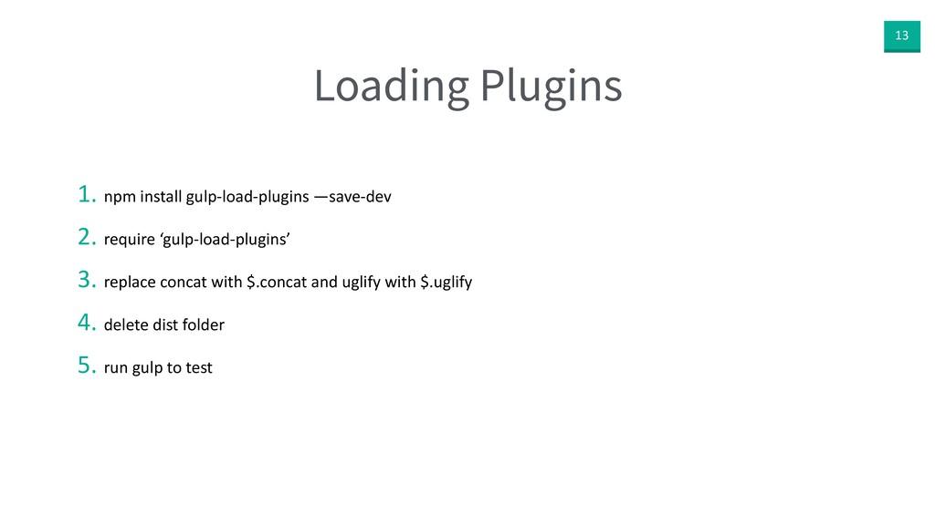 13 Loading Plugins 1. npm install gulp-load-plu...