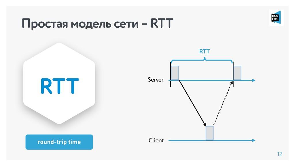 Простая модель сети – RTT 12 round-trip time RT...