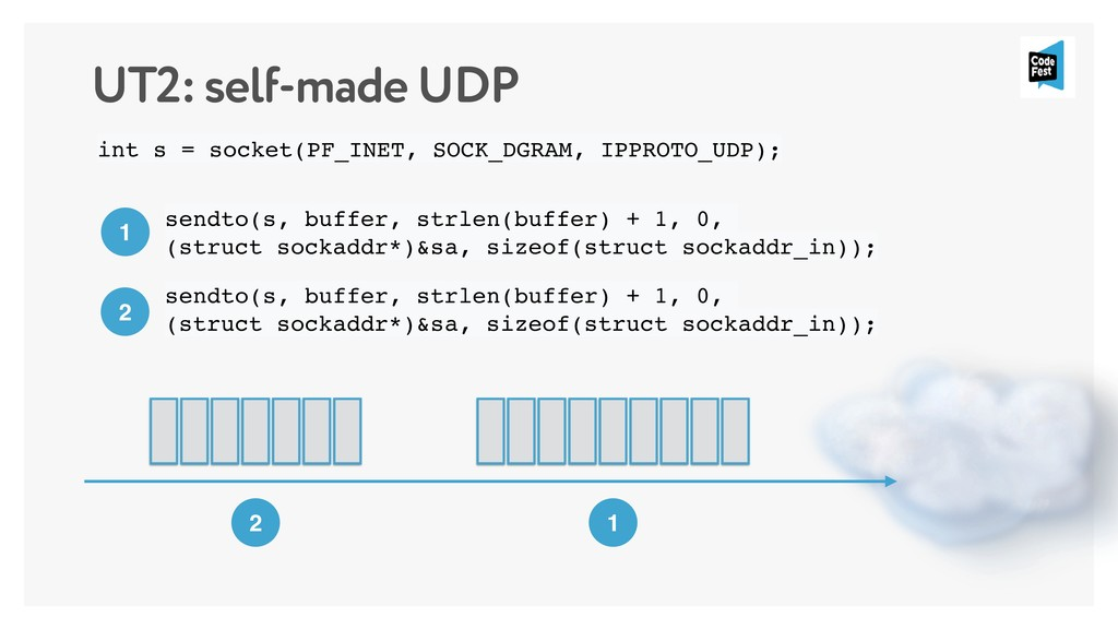 UT2: self-made UDP int s = socket(PF_INET, SOCK...
