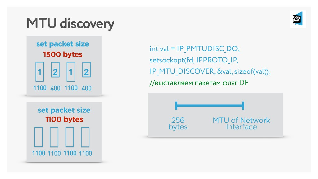 MTU discovery int val = IP_PMTUDISC_DO; setsock...