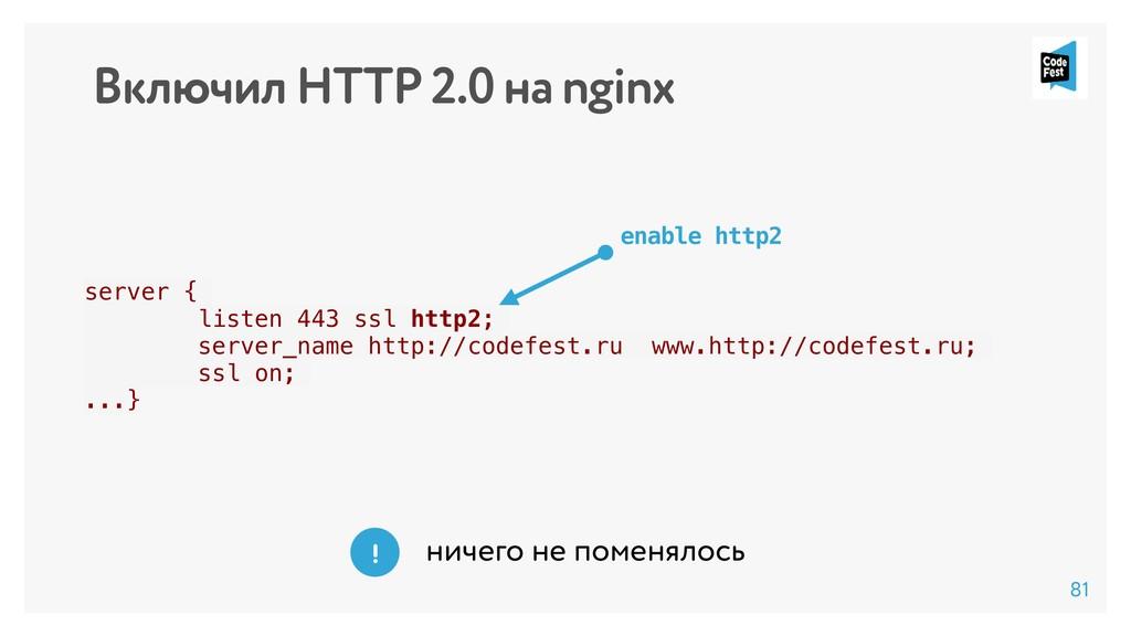 Включил HTTP 2.0 на nginx server { listen 443 s...