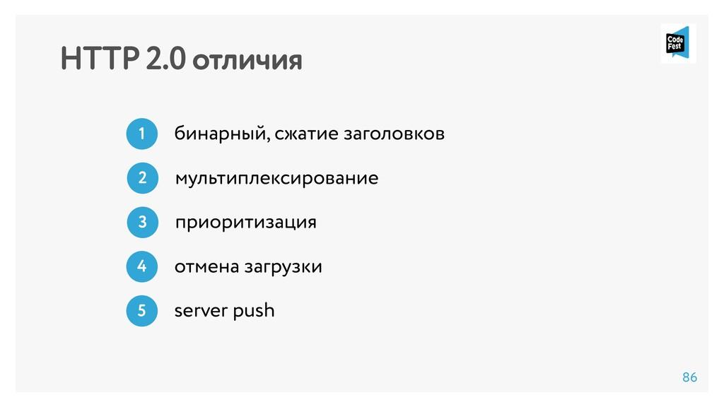 HTTP 2.0 отличия бинарный, сжатие заголовков 1 ...
