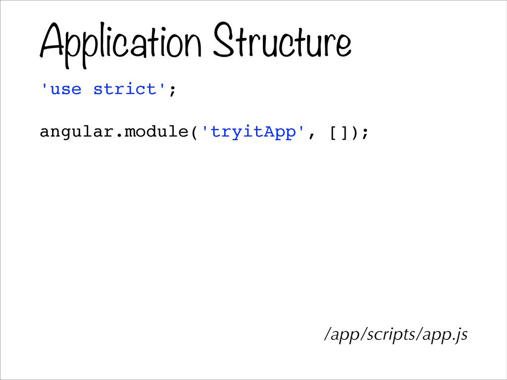 Application Structure 'use strict';! ! angular....