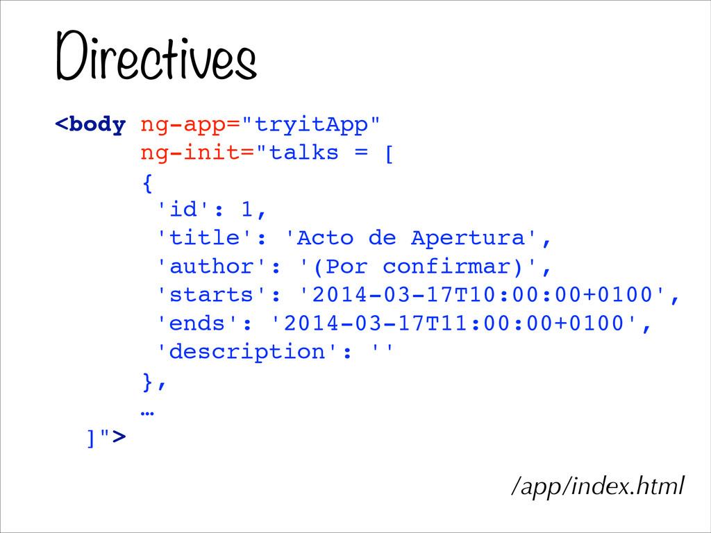 """Directives <body ng-app=""""tryitApp""""! ng-init=""""ta..."""