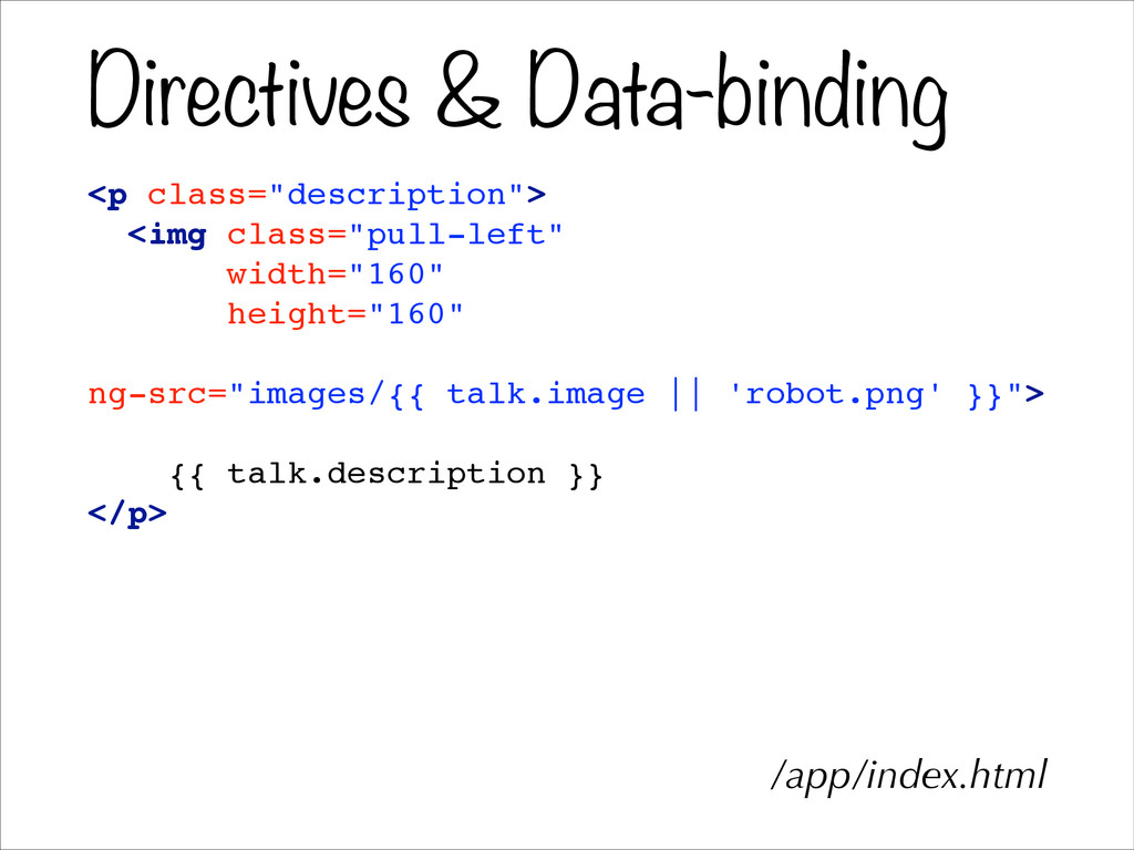 "Directives & Data-binding <p class=""description..."