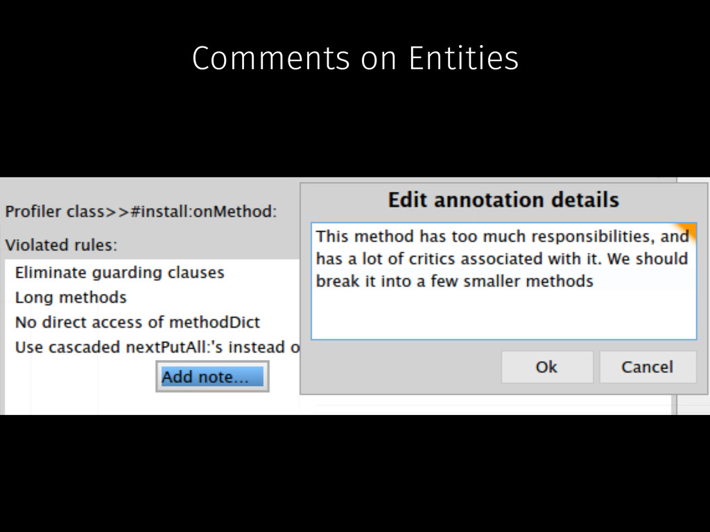 Comments on Entities