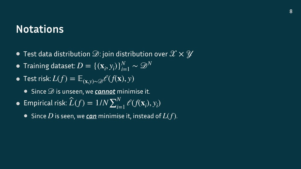 Notations 8 • Test data distribution : join dis...