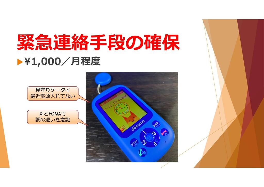 緊急連絡手段の確保 ¥1,000/月程度 見守りケータイ 最近電源入れてない XiとFOMA...