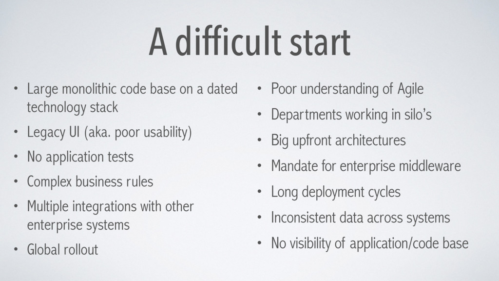 A difficult start • Large monolithic code base ...