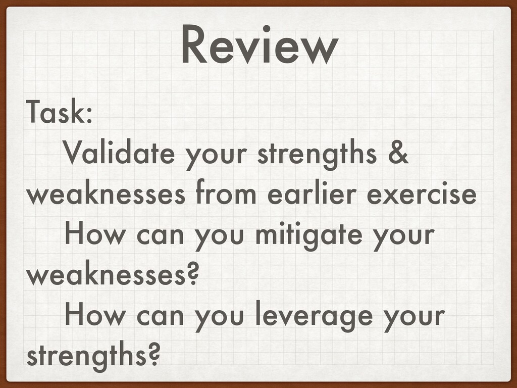 Review Task: Validate your strengths & weakness...
