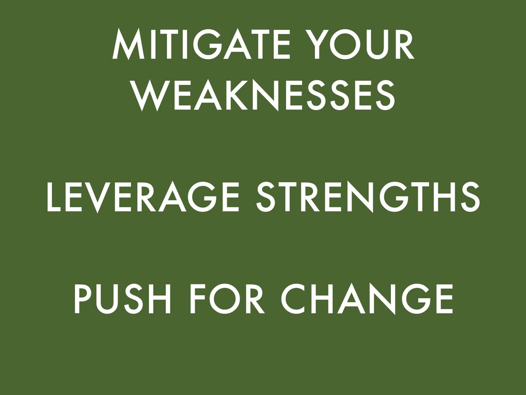 MITIGATE YOUR WEAKNESSES LEVERAGE STRENGTHS PUS...
