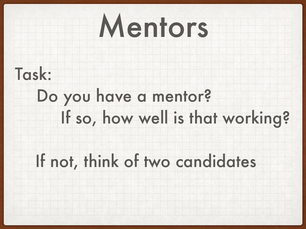 Mentors Task: Do you have a mentor? If so, how ...