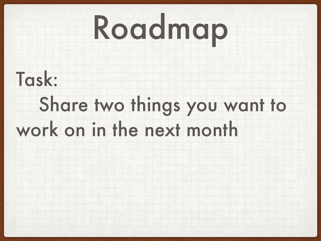 Roadmap Task: Share two things you want to work...