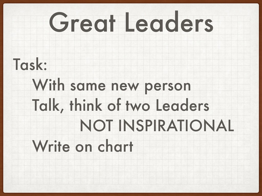 Great Leaders Task: With same new person Talk, ...