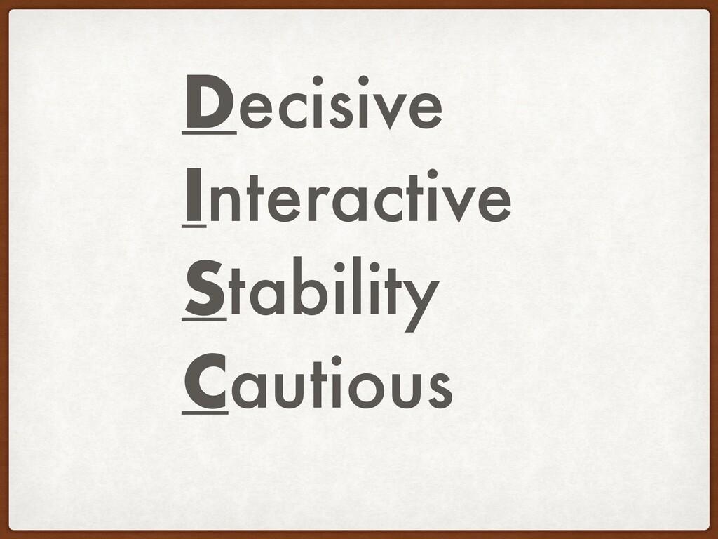 Decisive Interactive Stability Cautious