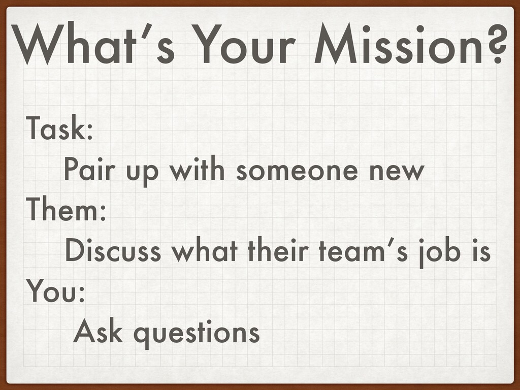 What's Your Mission? Task: Pair up with someone...