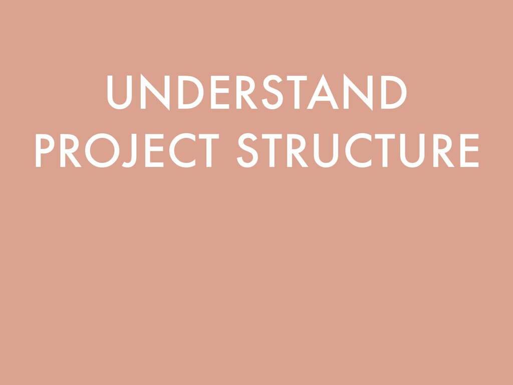 UNDERSTAND PROJECT STRUCTURE