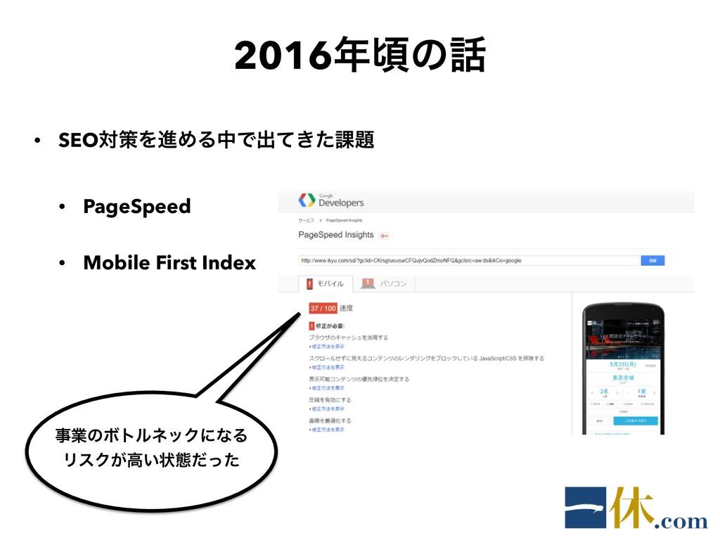 2016ࠒͷ • SEOରࡦΛਐΊΔதͰग़͖ͯͨ՝ • PageSpeed • Mobi...