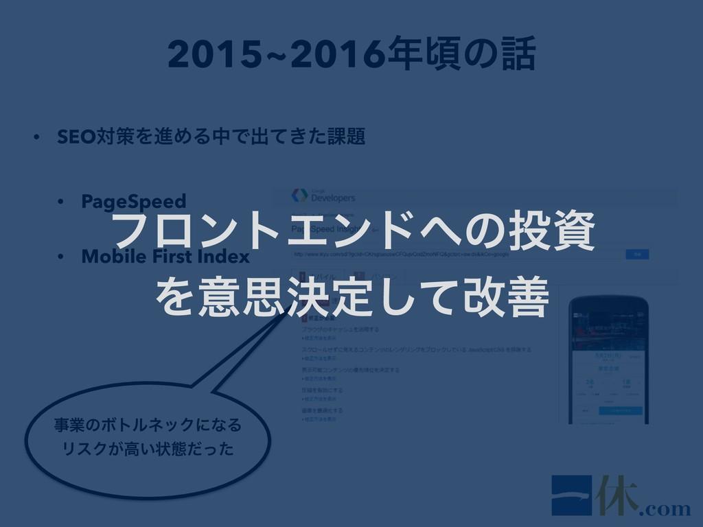 2015~2016ࠒͷ • SEOରࡦΛਐΊΔதͰग़͖ͯͨ՝ • PageSpeed •...