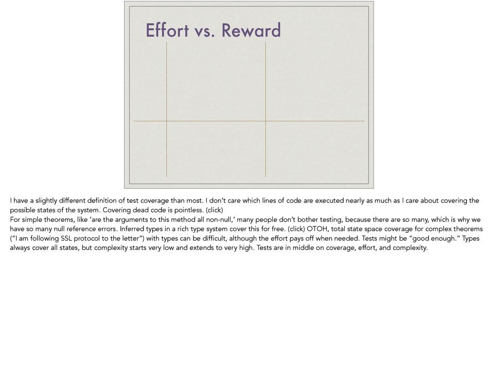 Effort vs. Reward I have a slightly different d...