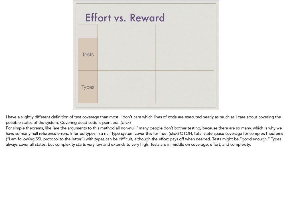 Effort vs. Reward Tests Types I have a slightly...