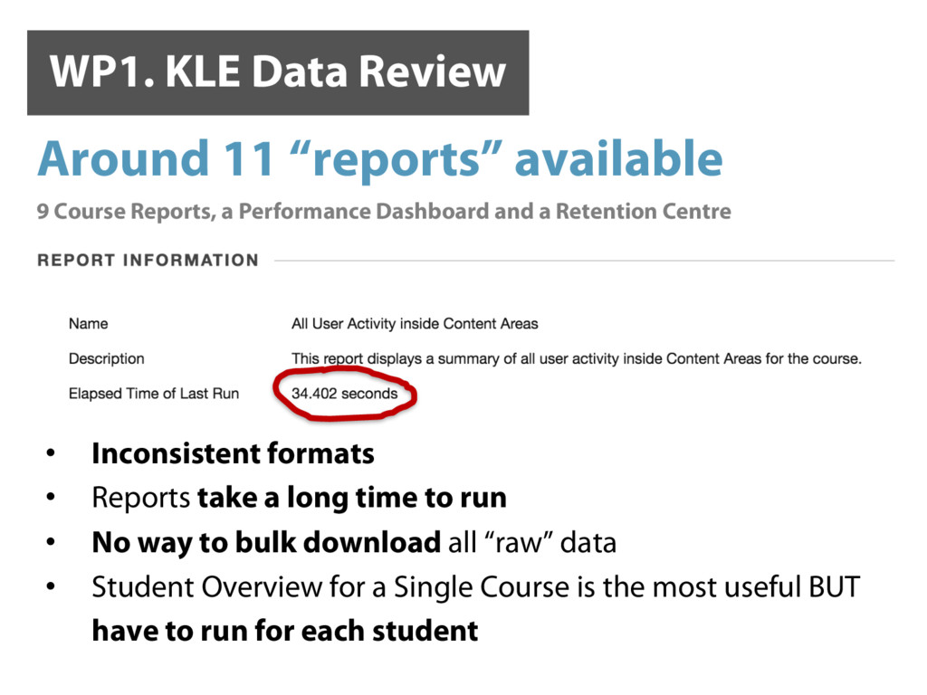 WP1. KLE Data Review   • Inconsistent formats...