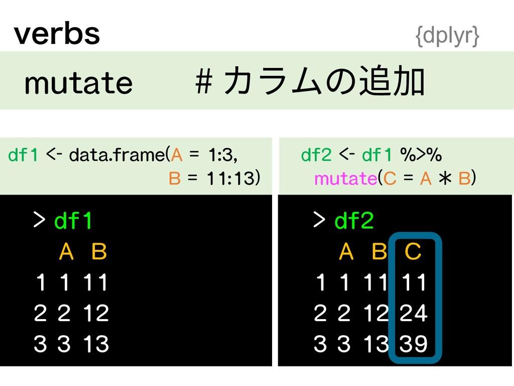 > df1 A B 1 1 11 2 2 12 3 3 13 df1 <- data.fram...