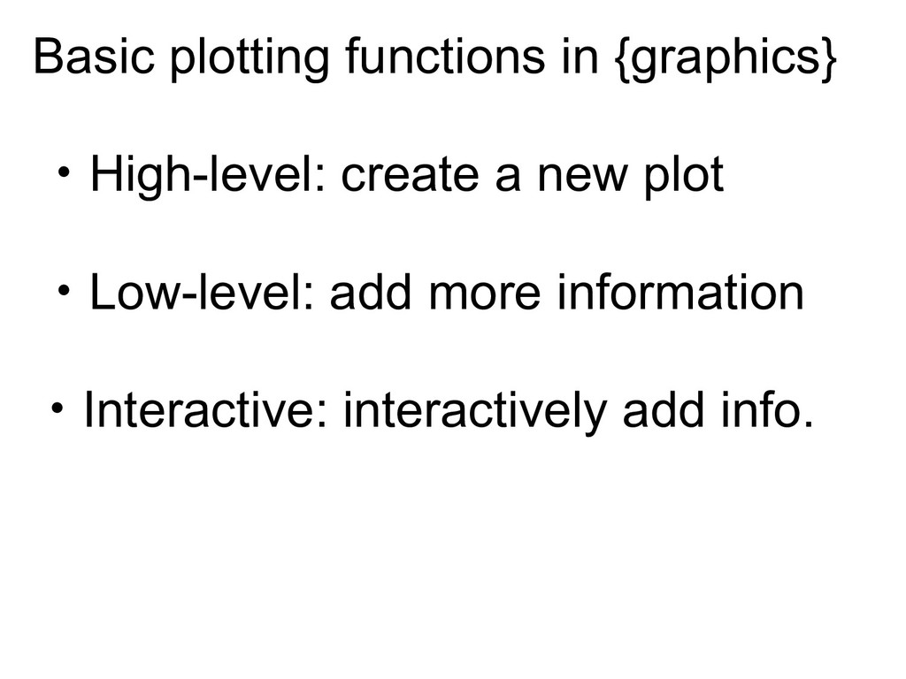 Basic plotting functions in {graphics} ‧High-le...