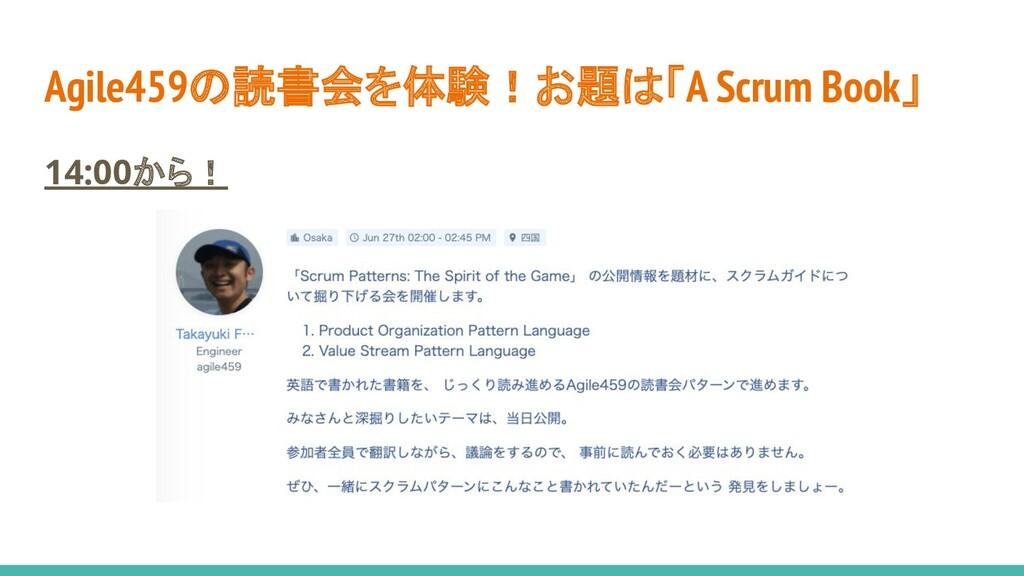 Agile459の読書会を体験!お題は「A Scrum Book」 14:00から!