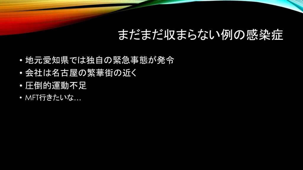 まだまだ収まらない例の感染症 • 地元愛知県では独自の緊急事態が発令 • 会社は名古屋の繁華街...