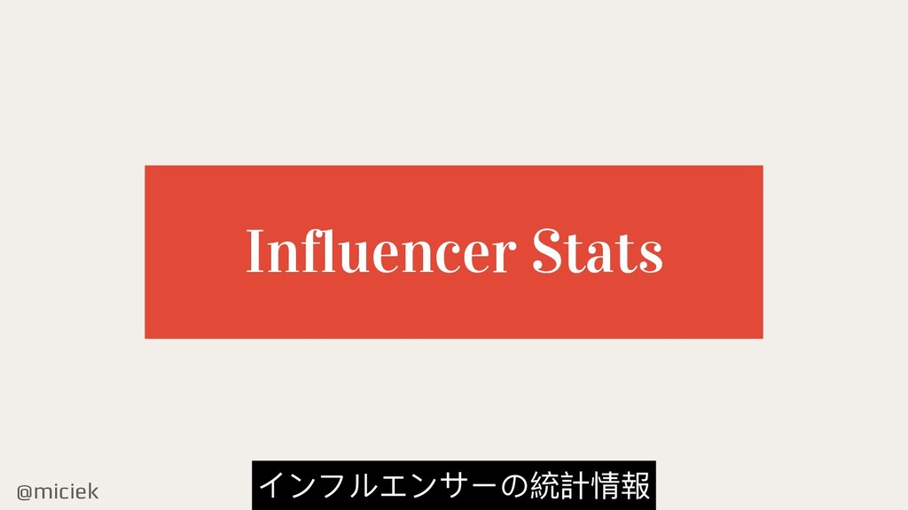 @miciek Influencer Stats インフルエンサーの統計情報