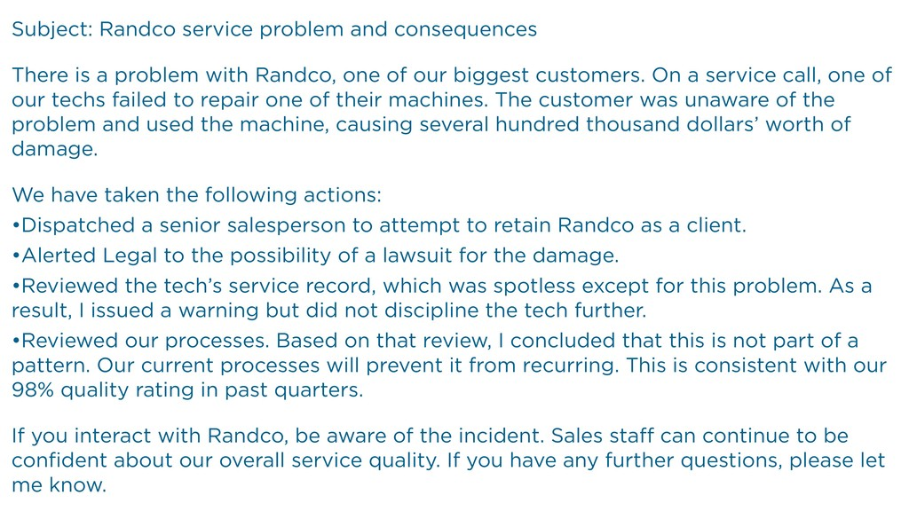 Subject: Randco service problem and consequence...