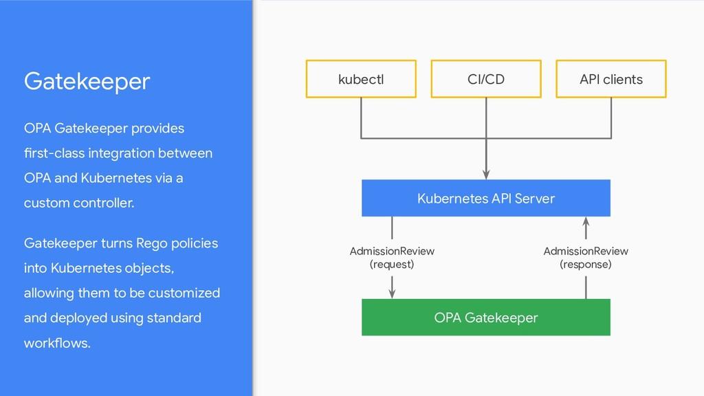 OPA Gatekeeper provides first-class integration...