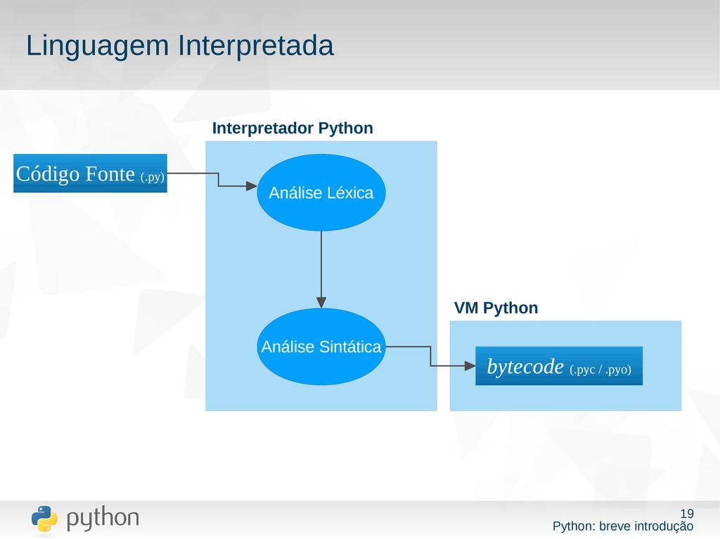 19 Python: breve introdução Linguagem Interpret...