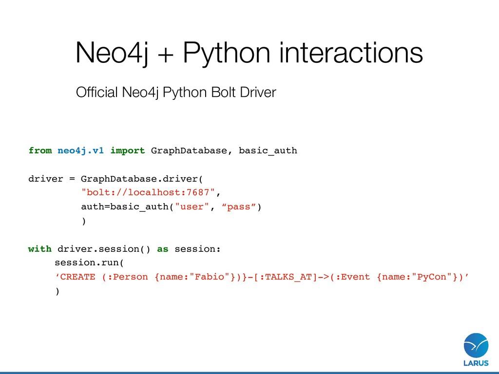 from neo4j.v1 import GraphDatabase, basic_auth ...