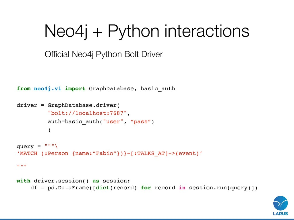 Neo4j + Python interactions Official Neo4j Pytho...