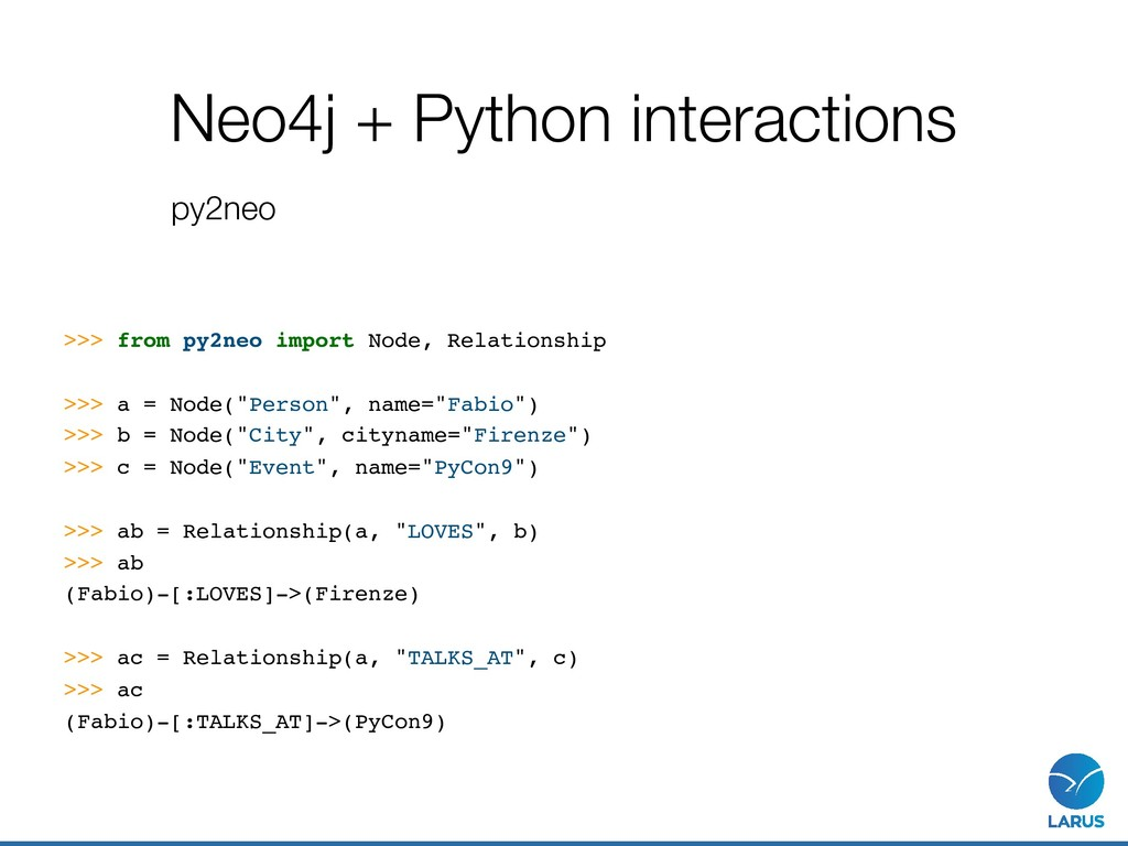 Neo4j + Python interactions py2neo >>> from py2...