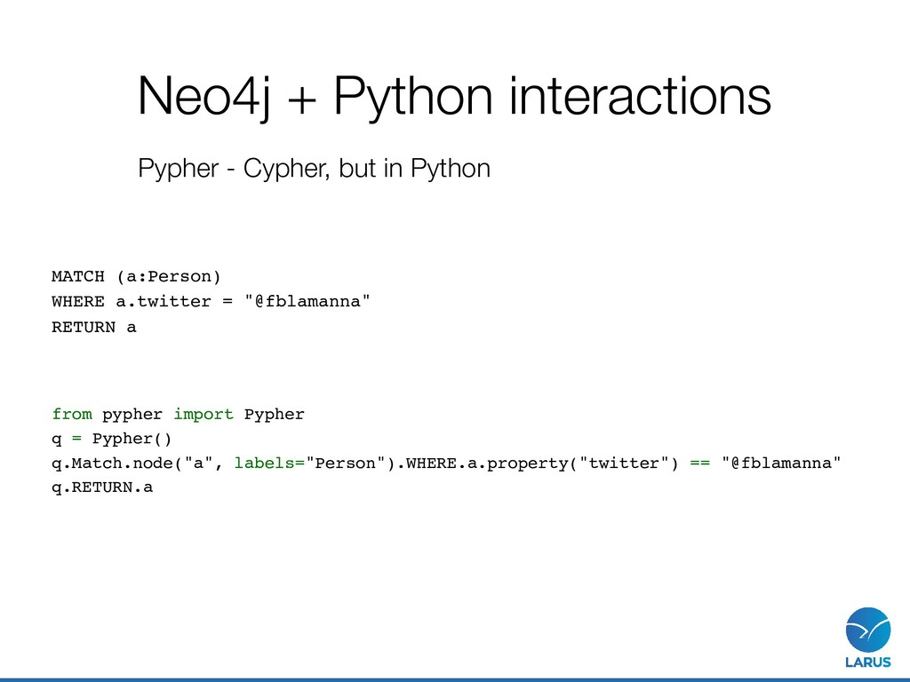 Neo4j + Python interactions Pypher - Cypher, bu...