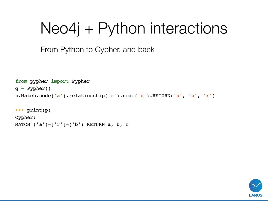 Neo4j + Python interactions From Python to Cyph...