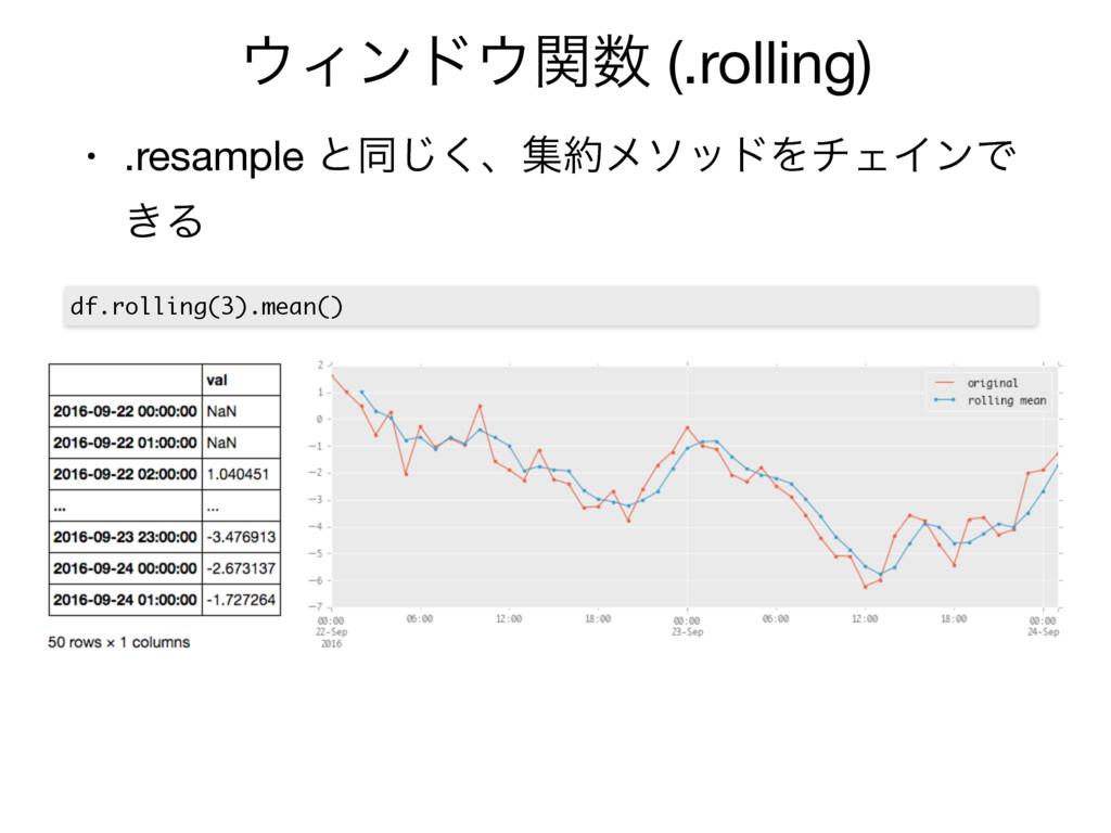Οϯυؔ (.rolling) • .resample ͱಉ͘͡ɺूϝιουΛνΣΠϯ...