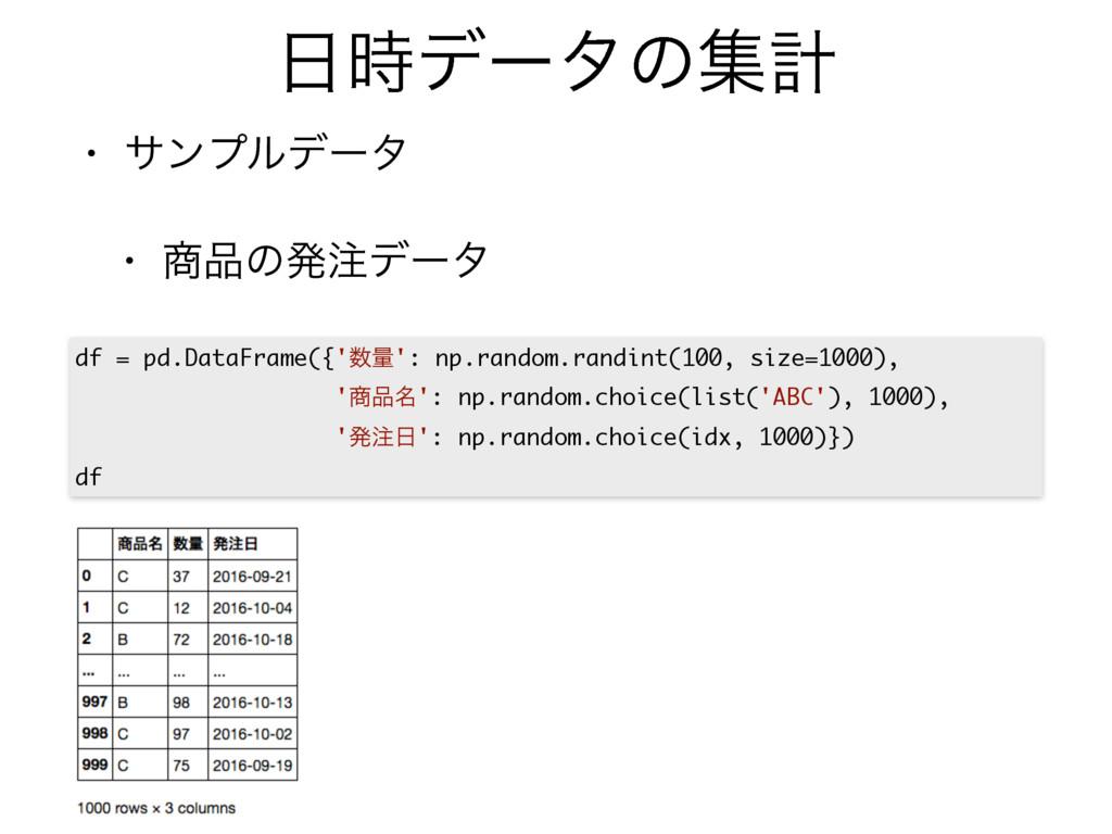σʔλͷूܭ • αϯϓϧσʔλ  • ͷൃσʔλ df = pd.DataFram...