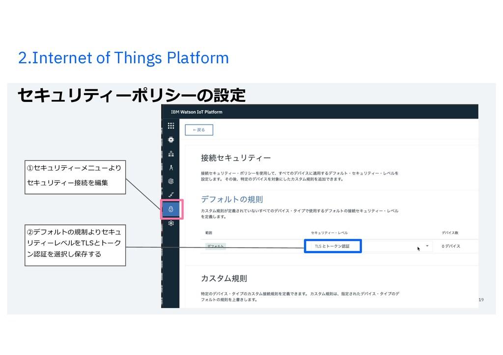 2.Internet of Things Platform セキュリティーポリシーの設定 19...