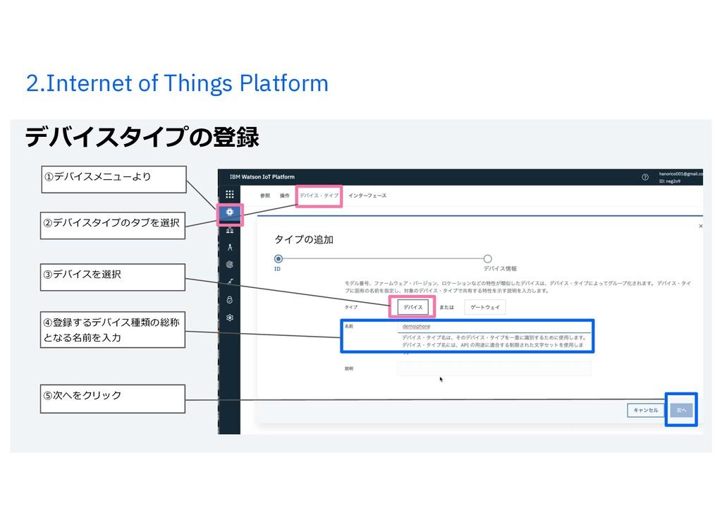2.Internet of Things Platform デバイスタイプの登録 20 ⑤次へ...